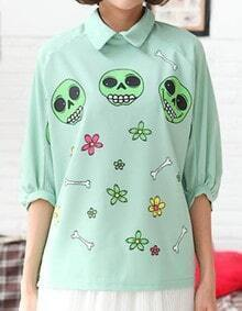 Green Leopard Print Bat-wing Sleeve Chiffon Shirt