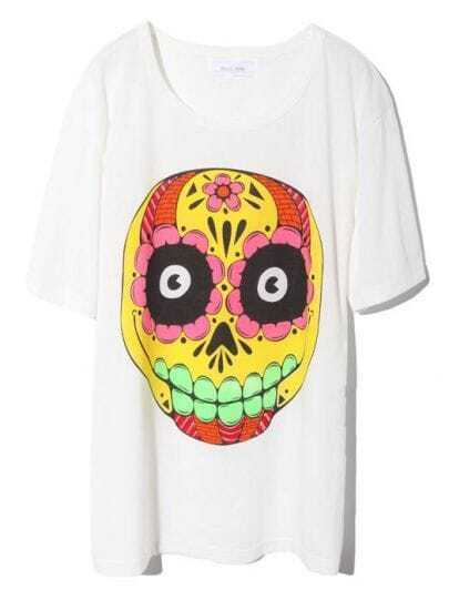 White Tie Dye Skull Print Short Sleev Cotton T-shirt