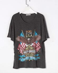 Grey BORN IN THE USA Eagle Short Sleeve Cotton T Shirt