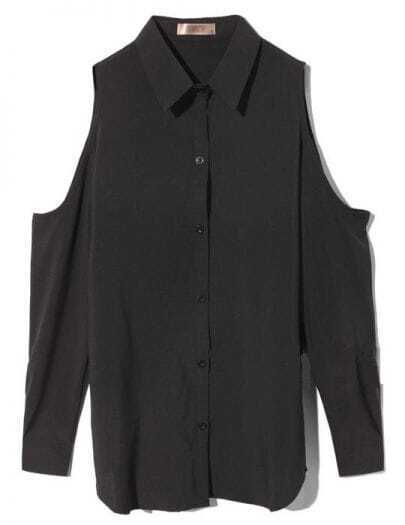 Black Off The Shoulder Lapel Loose Chiffon Shirt