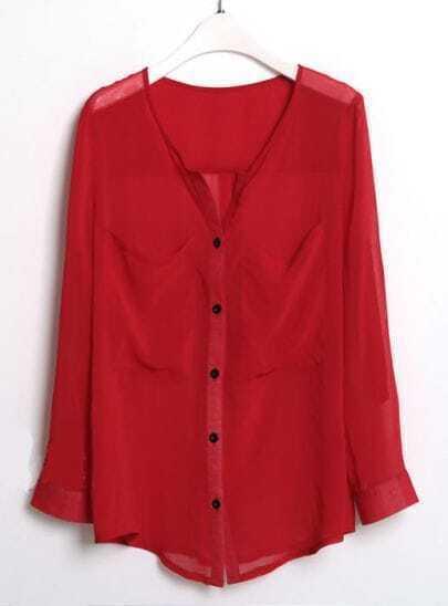 Pockets Pleated Long-sleeved Chiffon Shirt Red