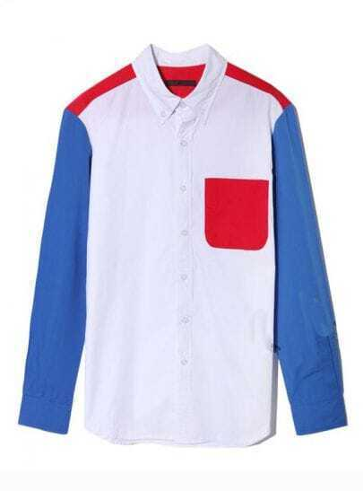 Candy Color Matching Pocket Lapel Shirt