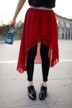 Stiching With Yarn Skirt Solid Slim Leggings Red