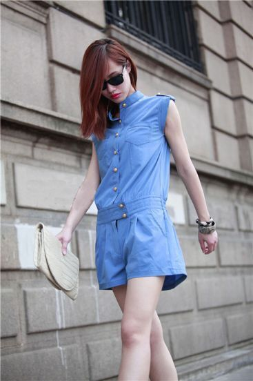Solid Mid-waist Polyester Jumpsuit