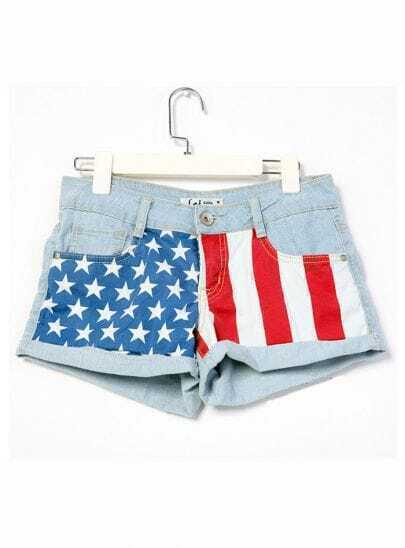 Star And Stripe Printed Low-waist Denim Shorts