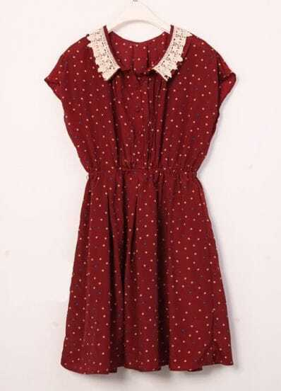Vintage Polka Dot Lapel Waist Chiffon Dress Red