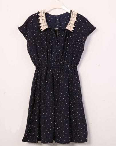 Vintage Polka Dot Lapel Waist Chiffon Dress Blue