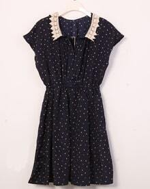 Vintage Polka Dot Lapel Waist Chiffon Dress Blue