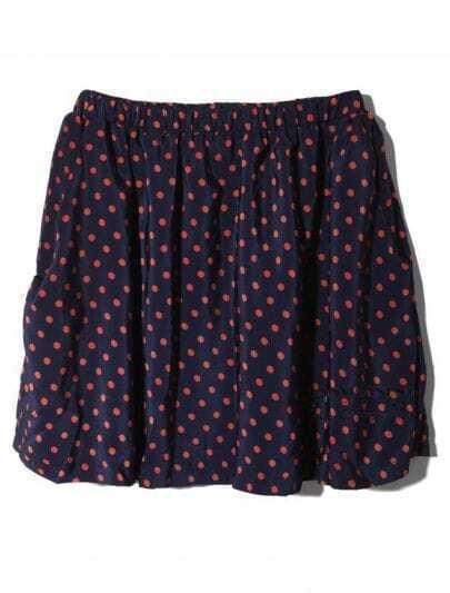 Vintage Polka Dot Chiffon Skirt Blue