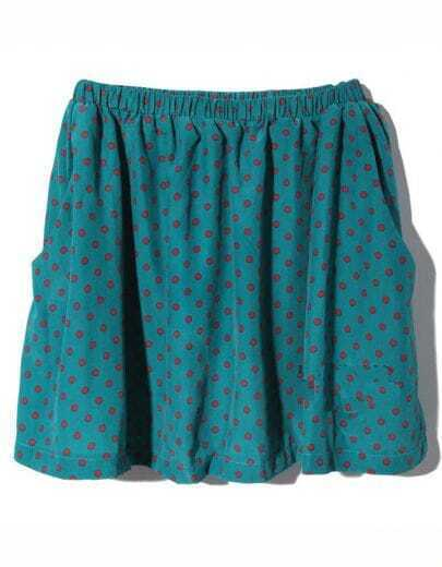 Vintage Polka Dot Chiffon Skirt Green