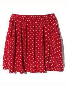 Vintage Polka Dot Chiffon Skirt Red