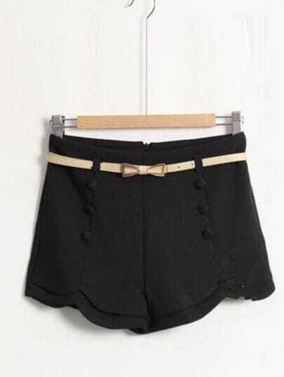Black Rippled Edge Shorts