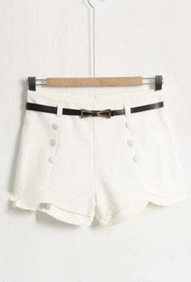 White Rippled Edge Shorts