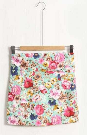 Pink-green Flower Print Package High Waist Skirt