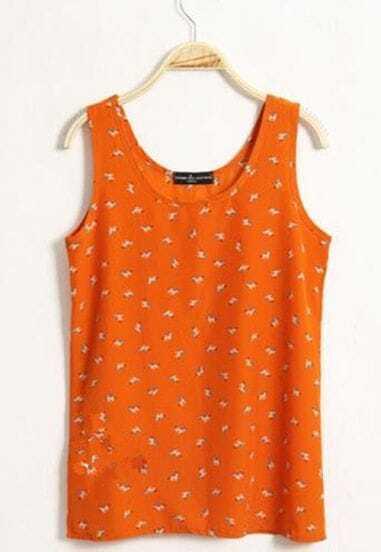 Orange Animal Print Chiffon Tank Shirt