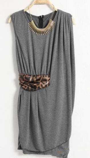 Grey Sexy Collect Waist Tank Dress