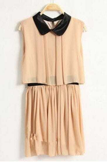 Dark-apricot Lapel Chiffon Tank Dress