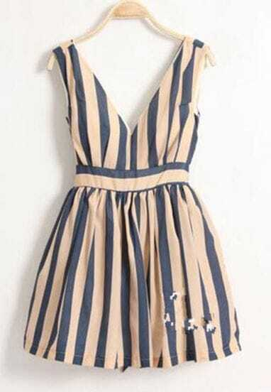 Blue Stripe Dark-V High Waist Tank Dress