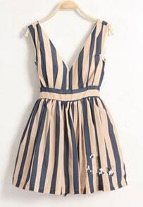 Blue Stripe Dark-V High Waist Tank Dress