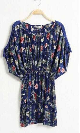 Blue Flower Print Bat-wing Sleeve Dress