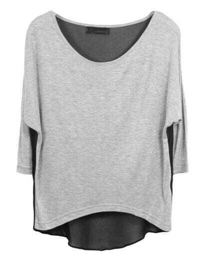 Grey Half Sleeve Scoop Neck T-shirt with Black Chiffon Back
