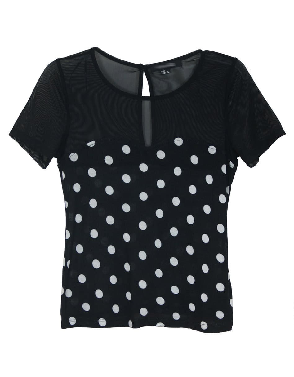 Black Polka Dot Short Sleeve Bustier Patched Tulle T Shirt