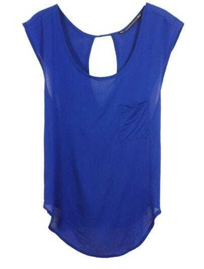 Royal Blue Criss-Cross Back Sleeveless Asymmetric T-shirt
