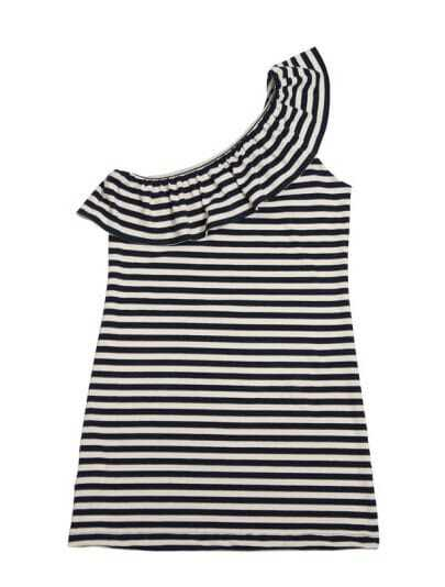 Vintage Striped Ruffle One Shoulder T-shirt
