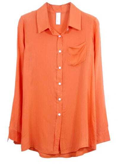 Solid Lapel Long-sleeved Slim Cotton Shirt Orange