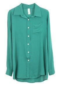 Solid Lapel Long-sleeved Slim Cotton Shirt Green