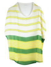 Striped Bat Sleeve Round Neck Chiffon Shirt Green