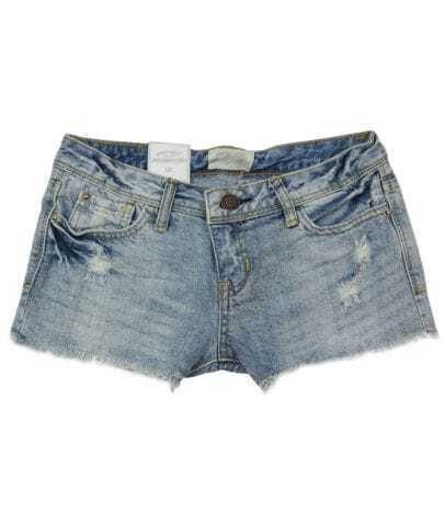 Low-waist Straight Denim Shorts