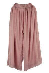 Solid High-waist Silk Loose Pants