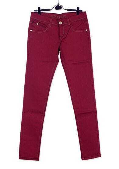 Vintage Solid Low-waist Red Cotton Pants