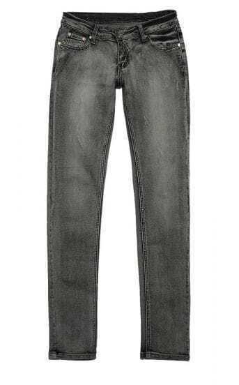 Zippered Low-waist Grey Slim Jeans