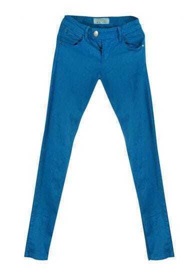 Vintage Blue Low-waist Solid Slim Jeans
