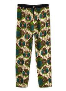 Printed Low-waist Cotton Straight Pants