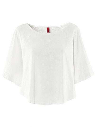 White Scoop Neck Cotton Curved Hem Poncho T-shirt