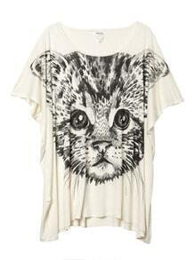 White Cat Print Scoop Neck Short Dolman Sleeve T-shirt