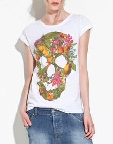White Flower Fruit Skull Print Short Sleeve Cotton T-shirt