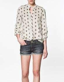 Printed Stand-collar Long-sleeved Chiffon Shirt