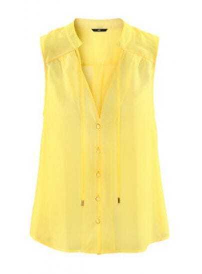 Stand-collar Tie Sleeveless Chiffon Shirt Yellow