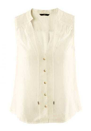 Stand-collar Tie Sleeveless Chiffon Shirt White
