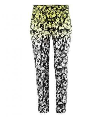 Floral Mid-waist Cotton Slim Pants