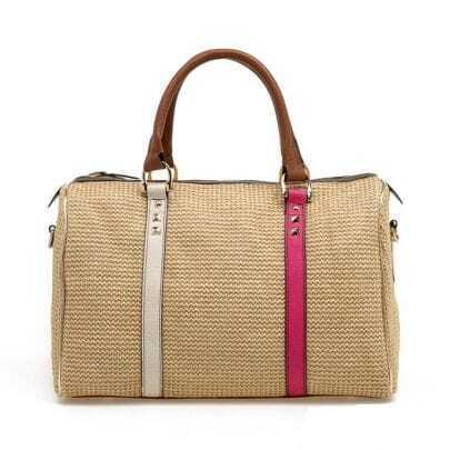 Rivet Straw Tote Bag