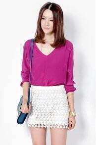 Solid Lace Mini Cotton Skirt