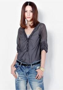 Solid V Neck Half-sleeved Slim Shirt Grey