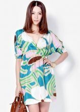Printed V Neck Waist Short-sleeved Dress