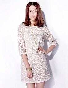 Round Neck Half-sleeved Slim White Lace Dress