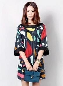 Abstract Print Round Neck HAlf-sleeved Loose Dress